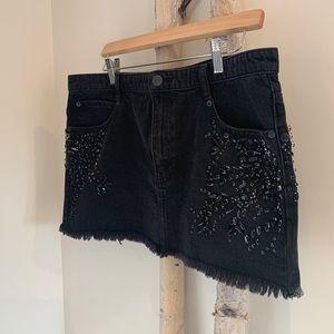 Free People Black Demin Rhinestone Crystal Skirt